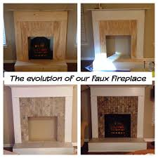 Build A Fake Fireplace Faux Fireplace Wood Trim Tile And An Electric Log My Diy
