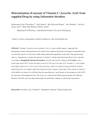 Vitamin C Dosage Chart Pdf Determination Of Amount Of Vitamin C Ascorbic Acid