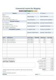 Invoice For Shipping Commercial Invoice For Shipping