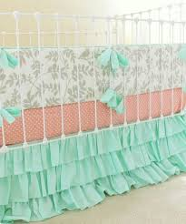 Light Green Crib Skirt Light Grey Mint Green And Peach Girl Nursery Baby