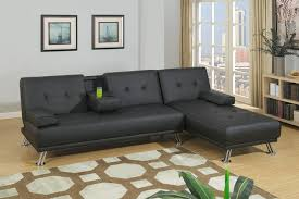 f7842 43 2 pc alisian collection black faux leather upholstered folding sofa and reversible chaise