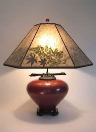 t153c asian red raku pot table lamp mica lamp shade with natural foliage