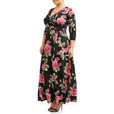 Ella Samani Womens Plus Size 3 4 Sleeve Classic Wrap Dress