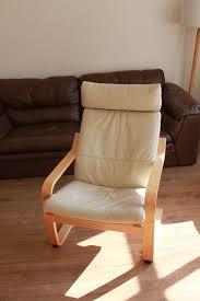cream leather rocking chair birch veneer frame ikea poang