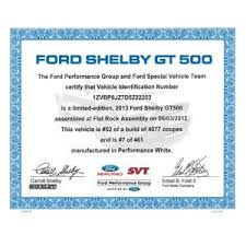 Ford Gt500 Certificate