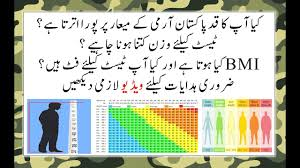 Army Body Mass Index Chart Height Weight And Bmi Requirement For Pakistan Army Airforce And Navy