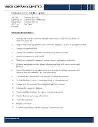 Customer Service Job Description Customer Service Representative Job Description 1