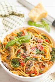 vegetarian spaghetti with mushrooms and spinach makes an easy healthy one pot pasta dinner that s
