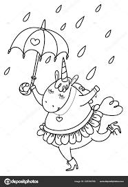 Unicorno Divertente Vettore Con Siluetta Ombrello Nero Isolata