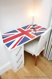 Children's bespoke fitted union jack bedroom desk made for an 8 year old  client in London