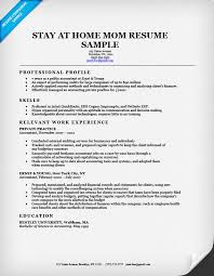 Work At Home Resume Samples Trisamoorddinerco Mesmerizing Stay At Home Mom Returning To Work Resume