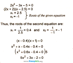 the reciprocal of the roots of 2x