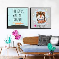 canvas prints for baby room. Cartoon Little Pilot Fox Art Canvas Posters Prints Baby Nursery Decor Pictures For Kid\u0027s Bedroom Home Room