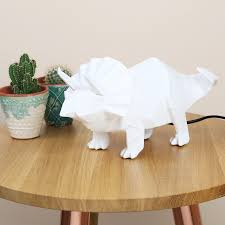 Disaster Designs Light Disaster Designs White Origami Triceratops Dinosaur Led Night Light