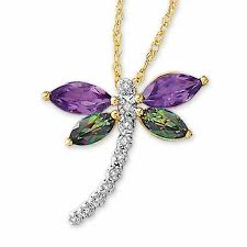 mystic topaz and amethyst dragonfly pendant with diamond accents in 10k gold