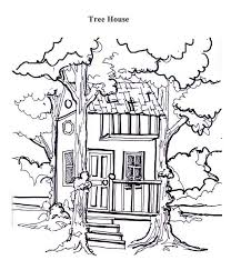 Small Picture Treehouse Between Two Tree Coloring Page Treehouse Between Two