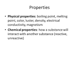 conductivity chemistry. luster, density, electrical conductivity, magnetism chemical properties: how a substance will interact with another (reactive, unreactive) conductivity chemistry