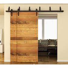 sliding door hardware. 183cm / 200cm 244cm Bypass Sliding Barn Wood Door Hardware Interior Black Rustic