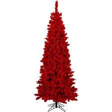 Holiday Time Artificial Christmas Trees PreLit 75u0027 Flocked Red Artificial Christmas Trees