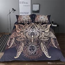 high quality lotus bedding set queen size flower bohemian duvet cover sun print boho bed set king black multi size bedspreads white bedding sets queen white