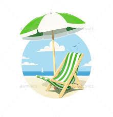chair umbrella. beach chair and umbrella for summer rest - vectors