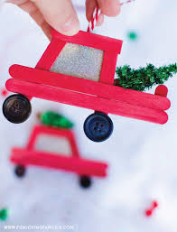 diy popsicle stick ornaments how cute are these little red car and truck diy