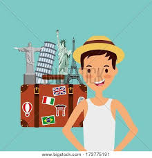 person on vacations holidays vector ilration design