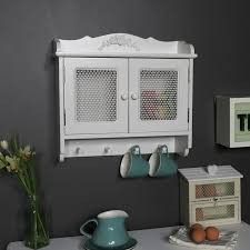 rose detailed white wall cabinet with