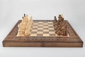 Handmade Wooden Board Games MADEHEART Unusual handmade wooden chessboard wood craft chess 81