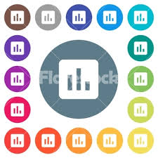 Chart Flat White Icons On Round Color Backgrounds Stock