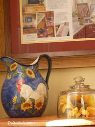 Sunflower Themed Kitchen Decor Kitchen Exclusive Rooster Kitchen Decor In Blue Jug With