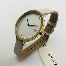 details about women s skagen white leather band watch skw2578