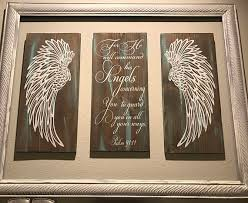 excellent design angel wing wall decor small home inspiration wings psalm 91 11 angels scripture verse