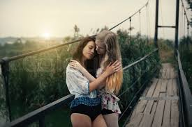 Lesbian brunette red blonde