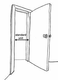 drawn doorway opened door