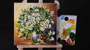 how to paint flowers with acrylic paint and a palette knife