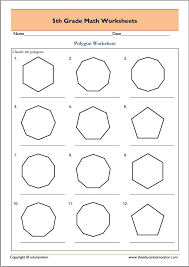 5th Grade Geometry Math Worksheets – Polygons – EduMonitor