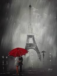red umbella under paris elf tower romance painting on canvas