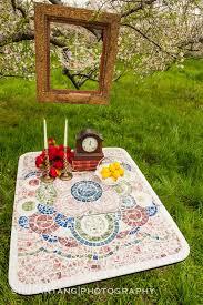 broken china mosaic drop leaf table