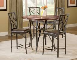 sanford merlot 5 piece counter height table and 4 chairs black metal round counter dining table with dark oak wood top metal counter stool has chocolate