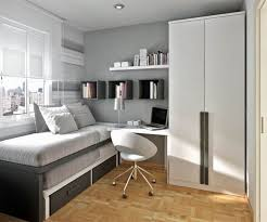 Teens Room : Grey Wall White Bed Sheet Laminated Wooden Floor White Stylish  Iron Study Chair Large White Wardrobe Glass Window Box Black Wooden Boo