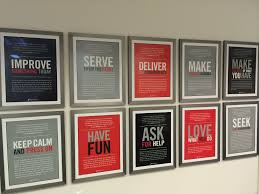posters for office. Framed Posters Of JetSuite Values In Hallway - Irvine, CA For Office