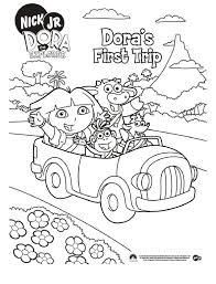 Kleurplaat Dora In De Auto Met Boots En Tyco 8529 Kleurplaten