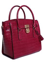 michael kors hamilton large east west red leather satchel for women