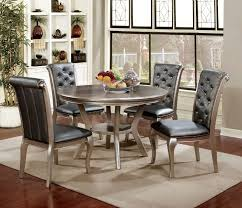5 pc amina champagne finish wood round dining table set this set 30 round kitchen table