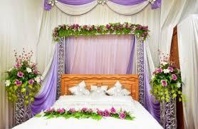 Purple Curtain For Amazing Bridal Bedroom Decoration With Elegant Flower  Arrangament
