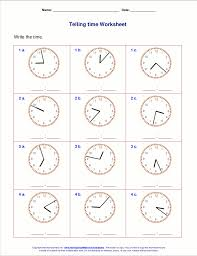 Telling Time Worksheets Grade 1 New Printables for First Grade ...