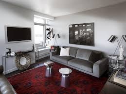 Indoor:Minimalist Design And Clean Living Room With A Sofa Plus Chair  Cushions And A