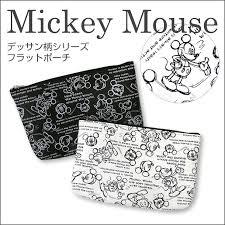 ミッキーマウス ポーチ 化粧ポーチ 大人かわいい 小物入れ ミニポーチ 日本製 モノトーン デッサン調 おしゃれ