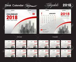 Desk Calendar 2018 Template Design Red Cover Set Of 12 Months